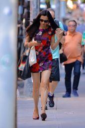 Famke Janssen Wearing a Floral Dress in Soho Manhattan, NYC 6/17/2016