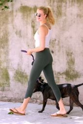 Hailey Clauson in Leggings - Walking Her Dog in New York City 6/1/2016