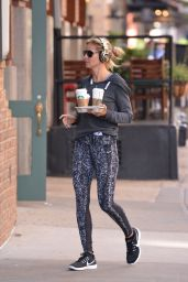Heidi Klum in an Athletic Outfit - Picks up Starbucks in New York City 6/14/2016
