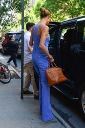 Heidi Klum Rocks the Shirtless Look With Body Hugging Overalls - New York City 6/15/2016