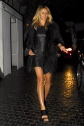 Heidi Klum Wearing a Leather Dress and Fuzzy Coat - Leaves Dinner at the Chateau Marmot  in West Hollywood, June 2016