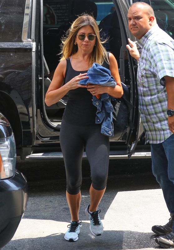 Jennifer Aniston in Leggings - at a Gym in New York City 6/21/2016