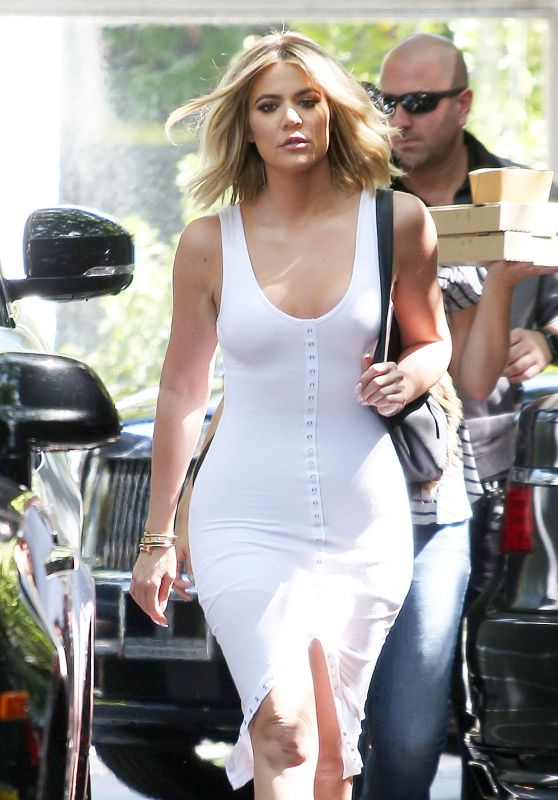 Khloe Kardashian in White Jersey Dress in Woodland Hills 6/20/2016