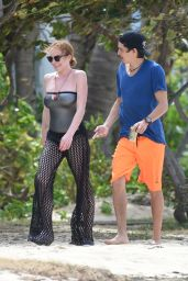 Lindsay Lohan on the Beach in Port Louis, June 2016