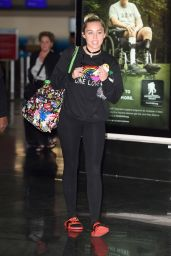 Miley Cyrus Travel Outfit - Leaving JFK in New York City 6/11/2016