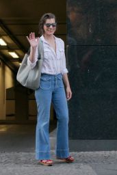 Milla Jovovich Street Style - Out in Berlin 6/27/2016