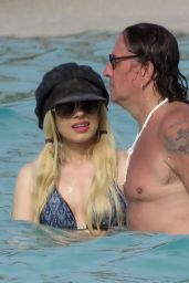 Orianthi Panagaris in a Bikini Top at the Beach in St. Barts 6/26/2016