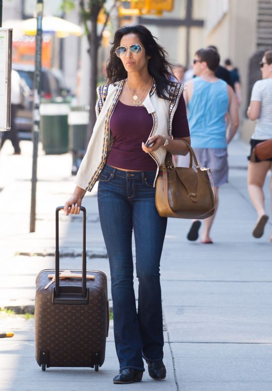 Padma Lakshmi Street Style - Out in SoHo in New York City 6/19/2016