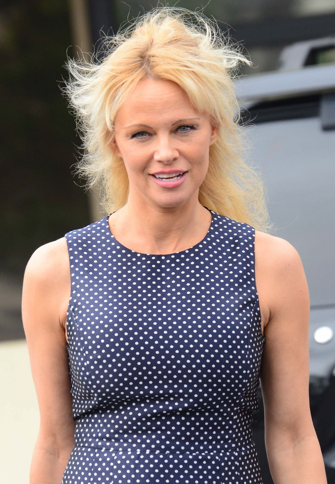 Pamela Anderson at a Hair Salon in Beverly Hills 6/1/2016