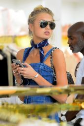 Romee Strijd in a Denim Dress for a Day of Shopping at House of CB in West Hollywood, June 2016