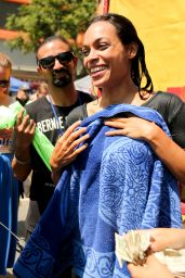 Rosario Dawson - Gets Dunked to Raise Money LA Rally on Sunset Blvd in Hollywood 6/26/2016