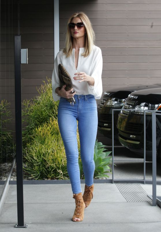 Rosie Huntington-Whiteley in Really TIght Jeans at an Office Building in Beverly Hills 6/9/2016