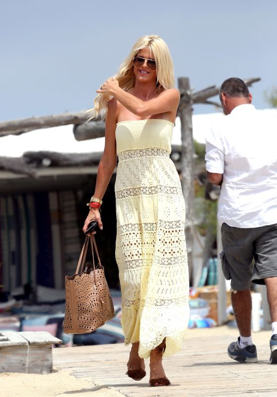 Victoria Silvstedt in a Yellow Dress - Arrives at Club 55 in Saint Tropez 6/21/2016
