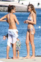 Alessandra Ambrosio Bikini Candids - Beach in Ibiza, July 2016