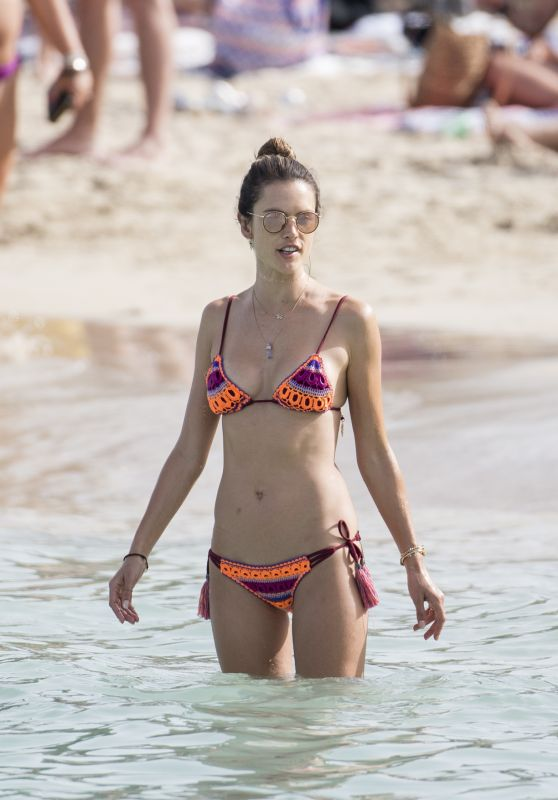 Alessandra Ambrossio in a Bikini on the Beach in Ibiza, Spain 7/4/2016