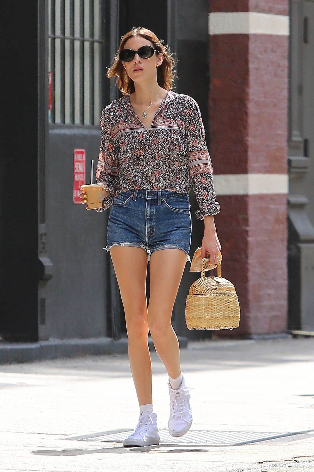 Alexa Chung in Jeans Shorts - NYC 7/15/2016