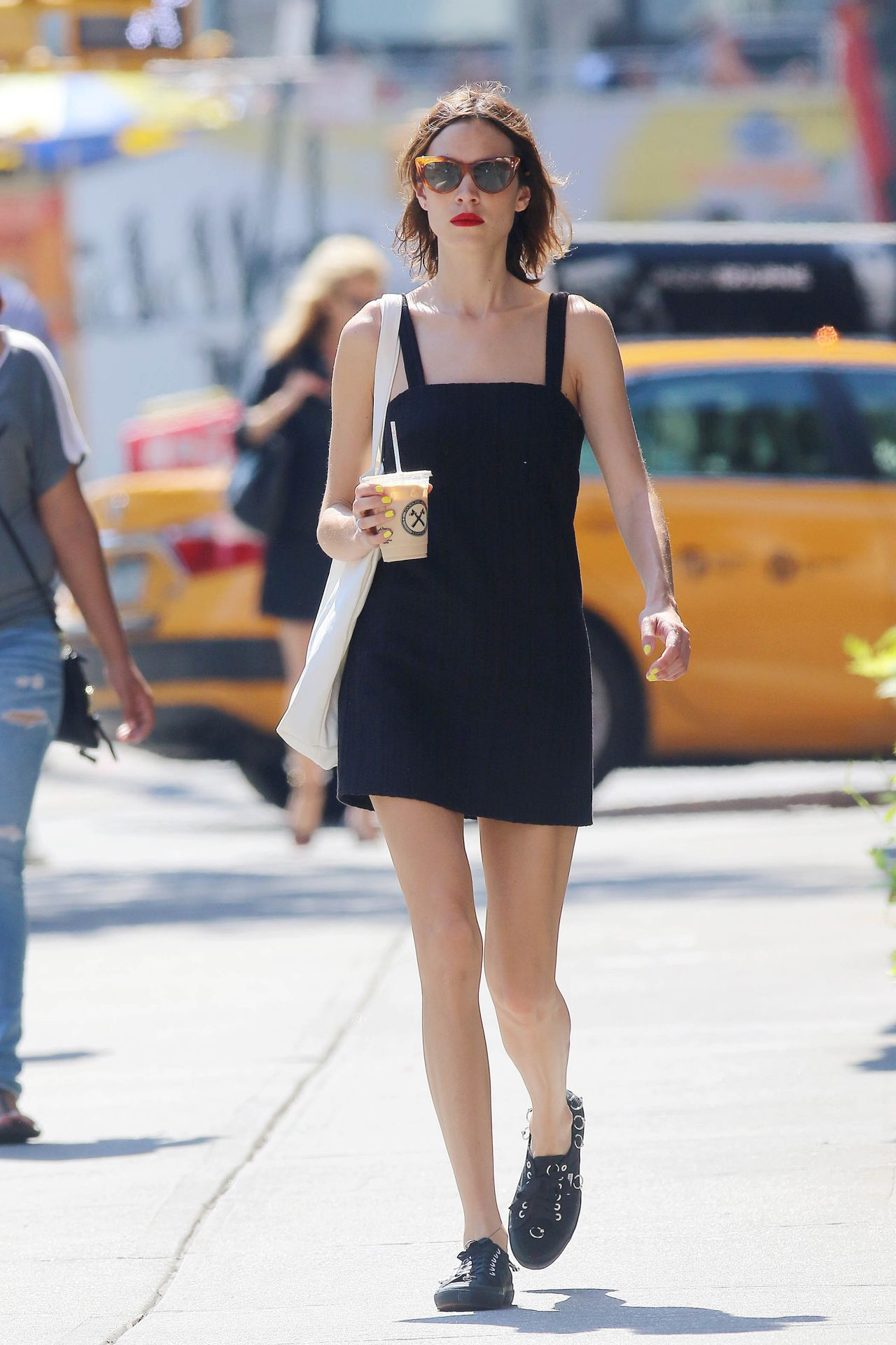 alexa chung in summer mini dress new york city 07 18 2016. Black Bedroom Furniture Sets. Home Design Ideas