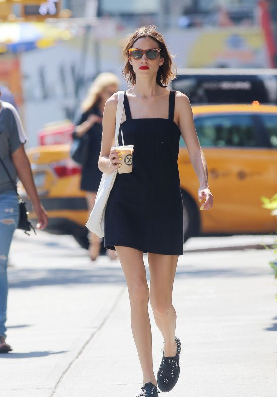 Alexa Chung in Summer Mini Dress - New York City, 07/18/2016