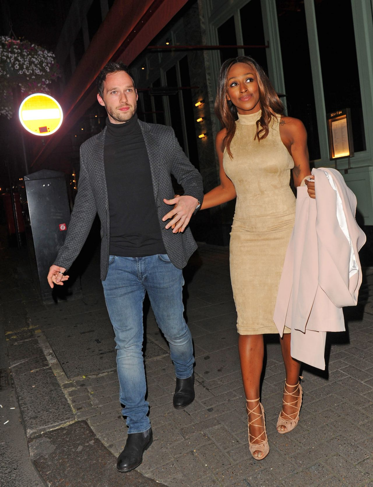 Alexandra Burke And Her Boyfriend - Leaving Sexy Fish -9919