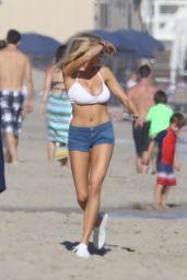 Charlotte McKinney in Bikini Top at a Beach Party in Malibu 7/2/2016