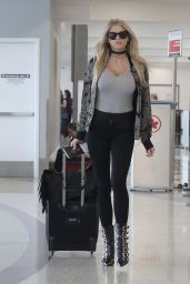 Charlotte McKinney Travel Outfit - at LAX, 7/9/2016