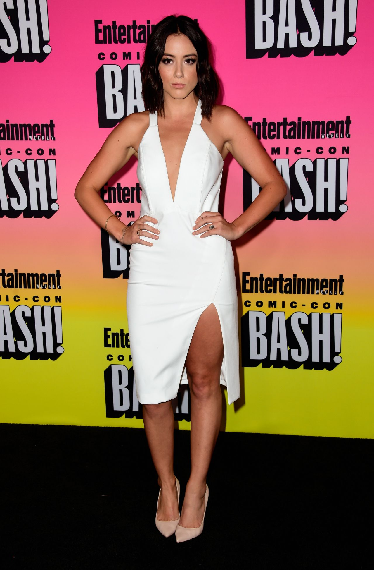 Chloe Bennet in a Short Pink Dress at the Entertainment
