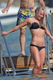 Chloe Madeley in Black Bikini - Beach in Ibiza 7/2/2016