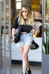 Chrissy Teigen in Ripped Jeans Shorts - Leaves a Salon in Beverly Hills 7/2/2016