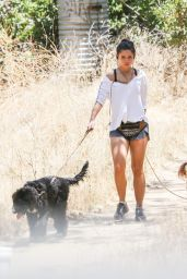 Danielle Campbell in Shorts and Sports Bra - Hiking in Griffith Park in Los Feliz, July 2016