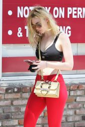 Elle Fanning in Red Tights -at the Gym in Studio City, 7/11/2016