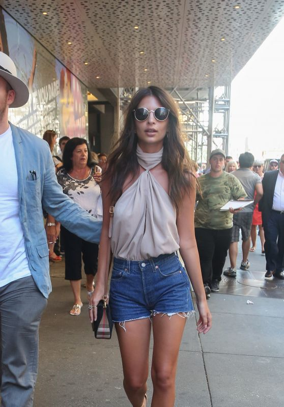 Emily Ratajkowski Leggy in Jeans Shorts - NYC 7/6/2016