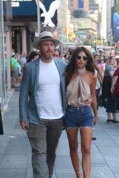 Emily Ratajkowski Leggy in Jeans Shorts - NYC 7/6/2016