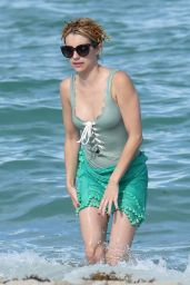 Emma Roberts in a Swimsuit on the Beach in Miami, July 2016
