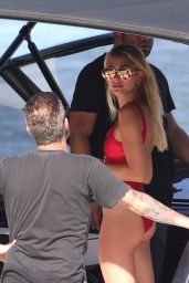 Hailey Baldwin in Swimsuit on a Boat in Miami 7/4/2016