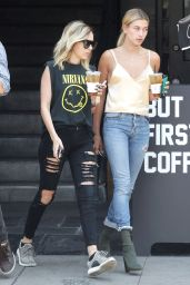 Hailey Baldwin Urban Style -Alfred Coffee in West Hollywood 7/29/2016
