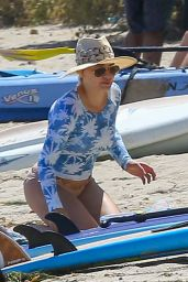 Hilary Duff in Bikini Bottoms - Beach in Malibu, July 2016