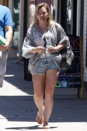 Hilary Duff  in Jeans Shorts - Out in Studio City 7/4/2016