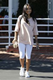 Karrueche Tran in White Leggings - Out in West Hollywood 7/6/2016