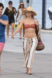 Kate Hudson in a Bikini Top on a Dock in Formentera, Spain 7/14/2016