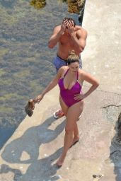 Kelly Brook in Purple Swimsuit - Capri, Italy 7/20/2016