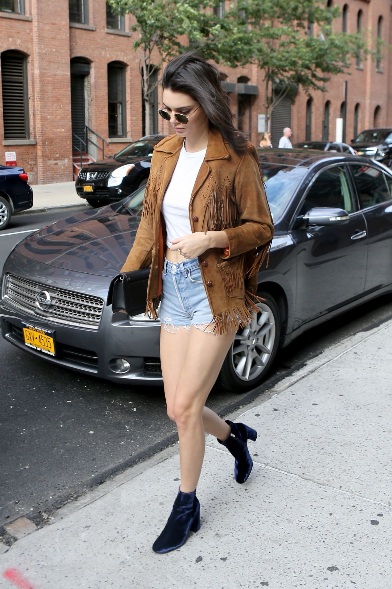 kendall jenner in jeans shorts  new york city 07102016