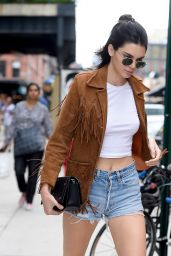 Kendall Jenner in Jeans Shorts - New York City, 07/10/2016