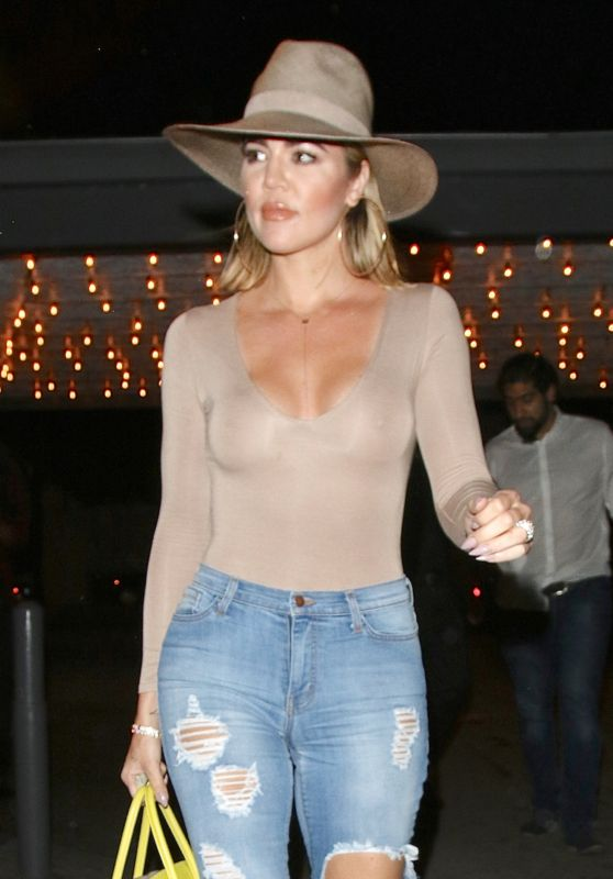 Khloe Kardashian in Ripped Jeans - Leaving Casa Vega Restaurant in Sherman Oaks 7/16/2016