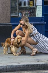 Kimberley Garner Summer Street Style - Walking Her Dog in London 7/7/2016