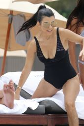 Kourtney Kardashian in a Swimsuit on a Beach in Miami 7/2/2016