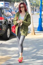 Lily Collins in Leggings - Leaving the Gym in West Hollywood 7/14/2016