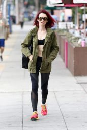 Lily Collins in Tights - Leaving the Gym in West Hollywood 7/8/2016