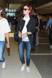 Lily Collins Travel Outfit - LAX Airport in Los Angeles 7/9/2016