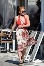 Lindsay Lohan Summer Style - Out in Mykonos, Greece, 7/5/2016