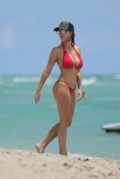 Ludivine Sagna in Red Bikini - Miami Beach, July 2016